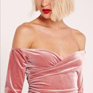 Misguided Bardot Wrap Long Sleeve Velvet dress